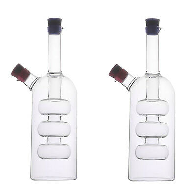 2Pcs 2Outlet Glass Oil Dispenser Jar Vinegar Bottle Kitchen Sauce Cruet A