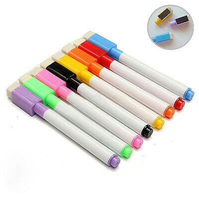 Pen with Eraser Lid Cap Black Whiteboard Plastic Marker Dry Erase 5/10x Colorful