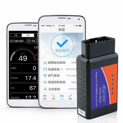 Hot ELM327 Bluetooth OBD2 OBDII Car Diagnostic Scanner Code Reader Tool