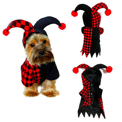 Pet Dog Puppy Cute Clown Clothes Coat Animal Halloween Cosplay Costume Apparel