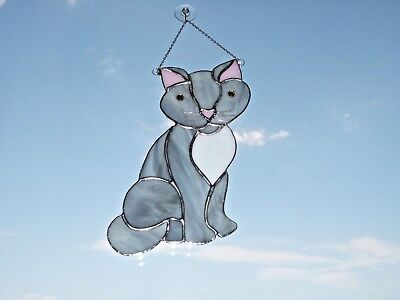 HANDMADE Stained Glass grey and white pussy cat sun-catcher