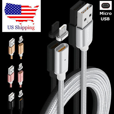 2.4A Fast Magnetic Adapter Micro USB Braided Charging Cable For Samsung S4 S6 S7