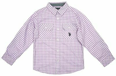 US Polo Baby Boys Check Roll Sleeve Cotton Shirt Lilac 12 Months - 7 Years