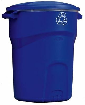 Plastic Trash Can 32 Gallon Outdoor Garbage Container Recycling Bin Waste Basket