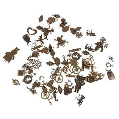 100g Vintage Antique Bronze Mixed Steampunk Pendants Charms Jewelry Finding