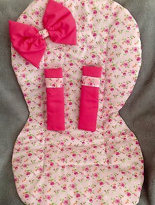 Pram  Buggy Push chair liner with matching bow and harness straps