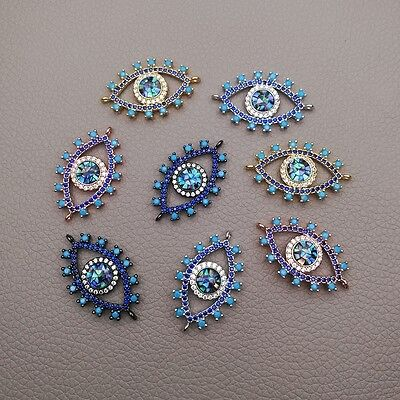 CN059 1pc 18x25mm CZ Micro Crystal Pave Evil Eye Jewelry Connector