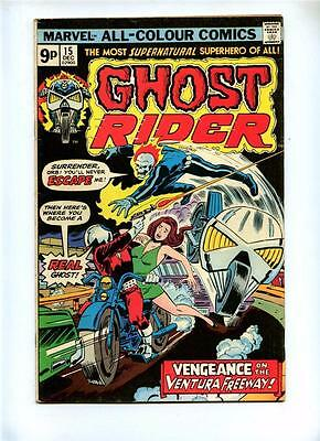 Ghost Rider #15 - Marvel 1975 - VG+ - UK Pence Variant