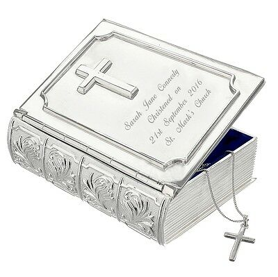 Personalised Silver Bible Trinket Box - Great Christening or New Baby Gift Idea