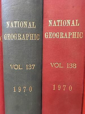 National Geographic Magazine 1970 Full Bound Year Jan -> Dec - HDO