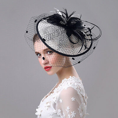 New Fashion Black White Sinamay Fascinator Hat Races Feathers  Loops Wedding