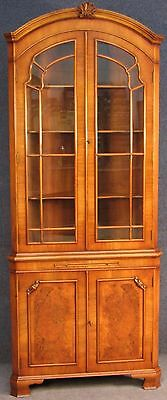 Georgian Style Tall Walnut Arched Top Corner Cabinet On Cupboard