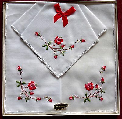 Vintage Boxed Embroidered Handkerchiefs
