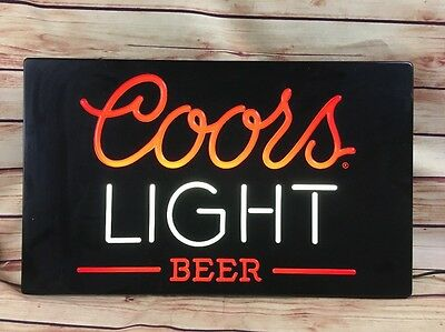 Vintage 1984 COORS LIGHT BEER Neon style Plastic Light up Sign XLARGE! BAR PUB