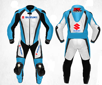 Suzuki Motorcycle Leather Suit MotoGp Sports Motorbike Leather Blue and White