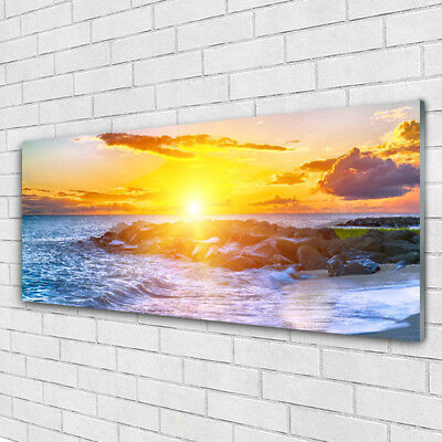 impression sur verre acrylique image tableau 125x50 paysage soleil mer eur 85 95 picclick fr. Black Bedroom Furniture Sets. Home Design Ideas