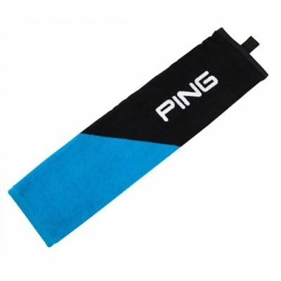 "NEW Ping Tri-Fold Towel 16""x21"" Black/Birdie Blue"