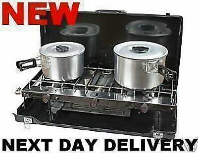 New Kampa Alfresco Camping Double Burner Hob & Grill Gas Cooker Stove