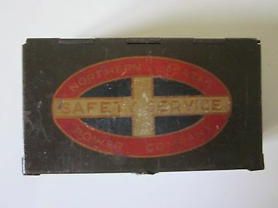 Vintage Northern States Power Company Metal Safety Tin Empty 4 x 2""