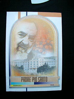 2002 Italy Catholic PADRE PIO official folder gold stamps card