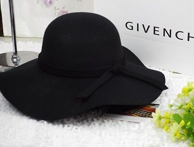 Ladies Womens Soft Felt Fedora Floppy Cloche Wide Brim Bowknot Hat Cap