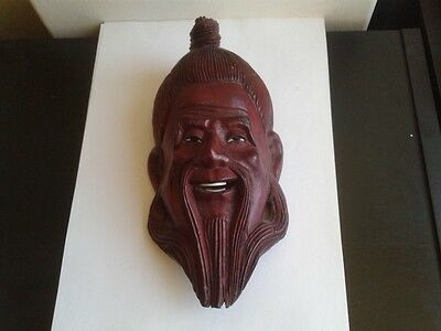 Japanese Mask Art Noveau  Rose Wood/ Bone 19th Century