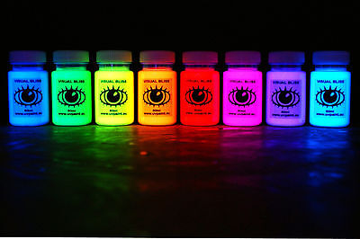 Ultra Bright UV Paint - 8 Vivid Colours - U.V Neon Rave Art Glow U-V Luminous
