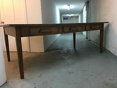 """Vintage library-style wood dining or work table, 90"""" long--seats 8 people"""