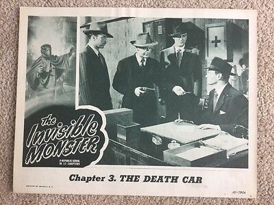 Movie Lobby Card 1950 The Invisible Monster Chapter 3 The Death Car