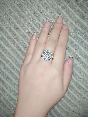9ct gold Diamond cluster Flower ring 1 carat Rounded & baguette diamonds