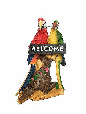 Macaw Parrot Welcome Pair Tropical Bird Figurine Statue 13 Inches Tall