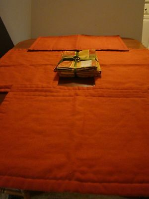 Rust Orange Cloth Placemats (Two Sizes) with Three Designs Cloth Napkins  Used