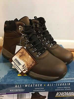 NEW Khombu Men Brown Leather Hiking Boots Waterproof Insulated Ravine Size 11