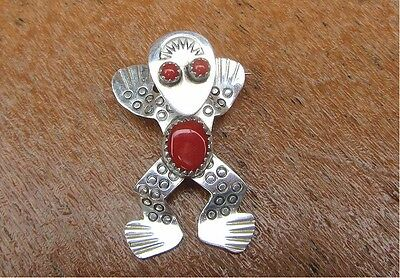 ZUNI Sterling Silver & Coral Decorative Frog Brooch or Pendant, Signed D.S.