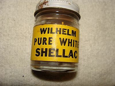 vintage wilhelm pure white shellac 1.5 liquid ounces. glass container