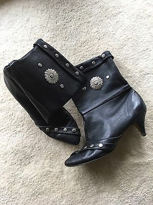 Vintage Boots Leather And Metal Studs Cowgirl Western Style Ladies