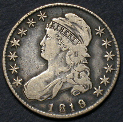 "1819/8 ""Large 9"" CAPPED BUST HALF DOLLAR O-105 R2 KEY RED BOOK OVERDATE VARIETY!"