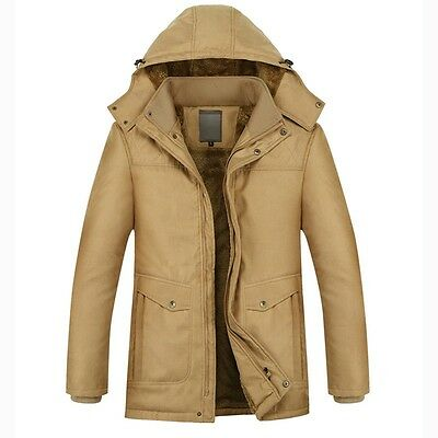 Mens Military Winter Thick Fur Lining Hooded Jacket Bussiness Coat Parka Outwear