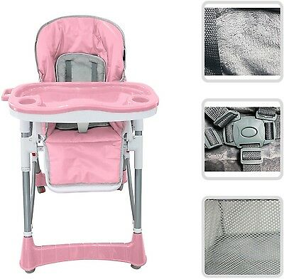 Adjustable Baby High Chair (Pink) - Chair With Shelf For Children Ages 6 Months
