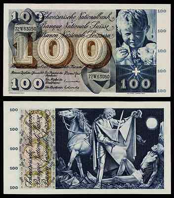 1970 Switzerland Large Banknote 100 Francs St. Martin Sharing Cape Pick 49l XF++