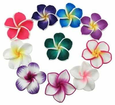 50 Pcs 35mm Mixed Color Polymer Clay Flower Beads Floral Bead Hawaiian Lei Beads