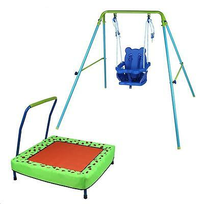 Toddler Baby Garden Folding Swing with seat Junior Kids Trampoline with Handle