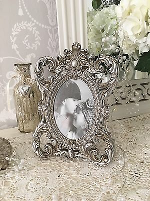 Shabby French Chic Vintage Photo Frame Distressed Silver Pewter Ornate 26cm