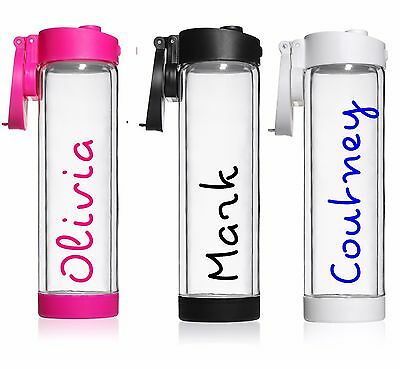Personalised Sticker Name Label for Water Drink Bottle Love Island DECAL Gym Hen