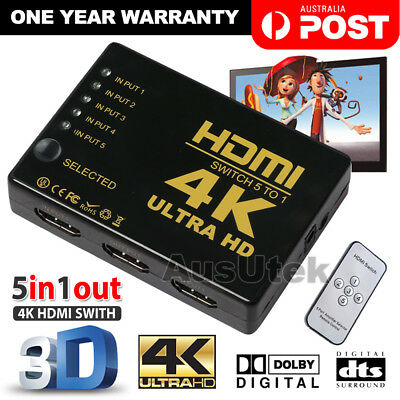 5 Way 4K Ultra HD HDMI Switch Splitter HDTV Auto 3 Port IN 1 OUT Remote Control