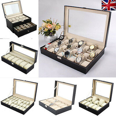 Bedroom Tidy 6-24 Slots Wrist Watch Display Box Storage Organizer For Collection
