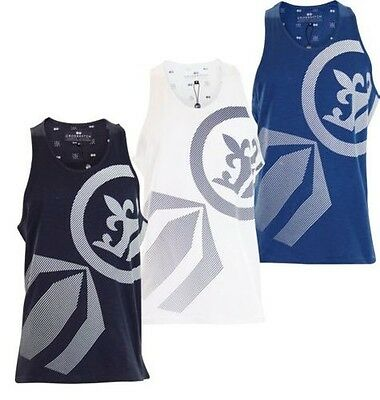 New Mens Crosshatch Designer Gents Print Sleeveless Branded Summer Gym Vest Top