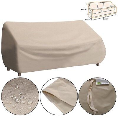 Waterproof High Back Patio Three-seats Sofa Cover Furniture Protection Beige