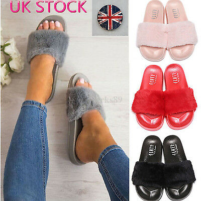 Womens Ladies Com*fenty Plain Rubber Bow Sliders Flats Shoes Slides Slippers