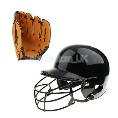 Pro Batting Helmet with Mask (55-60cm) + Left Hand Baseball Glove 10.5""